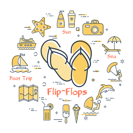 Round set of linear icons of yellow color showing concept of summer activities and traveling isolated on white background. Icon of couple flip-flops in center