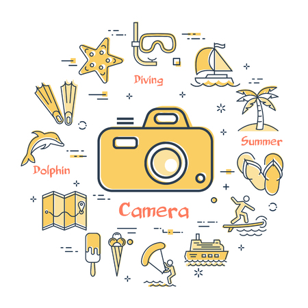 Round set of linear icons of yellow color showing concept of summer activities and traveling isolated on white background. Icon of photographic camera in center Illusztráció