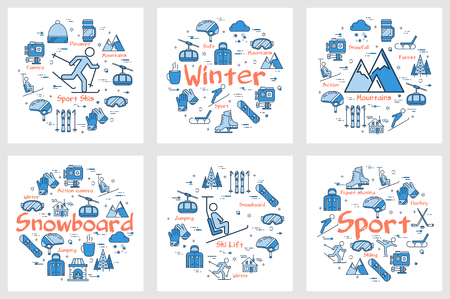 Vector set of blue winter sport or enteirtaiment banners. Outline icons of hockey, snowboarding, figure skating, sledging and skiing. Naure and mointains