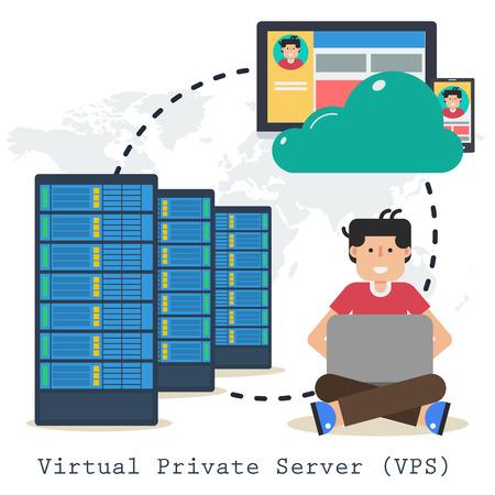 Concept vectoriel serveur privé virtuel -VPS - sur fond blanc. Administrateur avec ordinateur portable, ordinateur et serveur Web dans un style plat Vecteurs