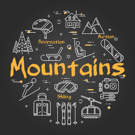 Vector linear black round concept of mountains on dark chalcboard. Outline icons of winter outdoor recreation, skiing, ski lifts and entertainment on vacation Illustration