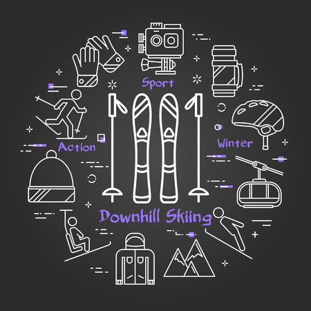 Vector linear round concept of mountain skiing and sticks. Line icons of jumping, action camera, sportswear and ski lift on black background