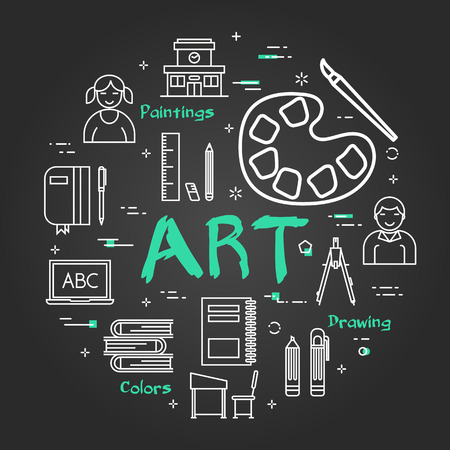 Vector linear round concept of Art School Subject. Line icons of painting, drawings, instruments and pupils on black chalkboard background