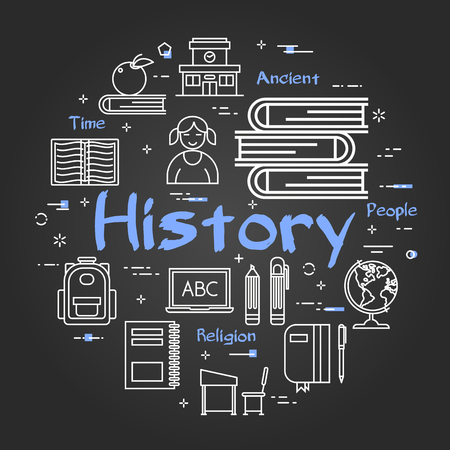 Vector linear round concept of History Subject. School lesson for children and education line icons of encyclopedia and dictionaries, computer and classroom on black chalkboard background