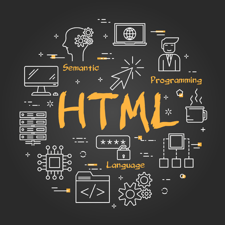 Vector linear black round banner of HTML concept. Thin line icons of coding, interner, computer technology. Modern web banner on black chalkboard background