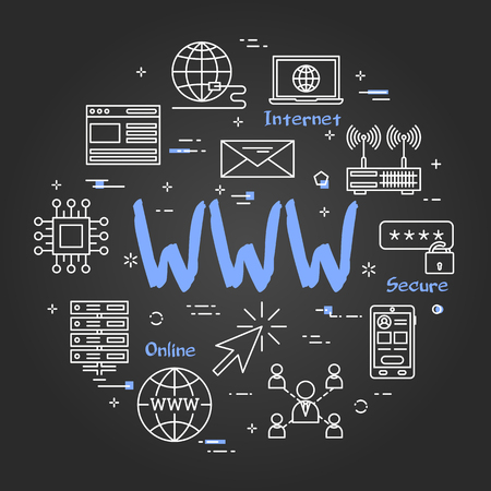 Vector linear round concept of WWW internet. Thin line icons of world wide internet connection. Modern web banner on black chalkboard background Illustration