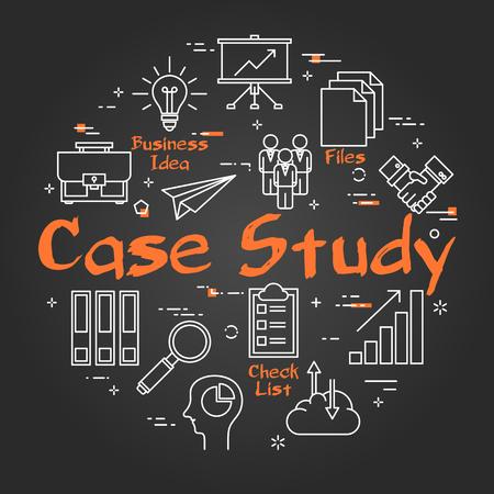 Concepto redondo lineal de vector de estudio de caso. Comparación de datos y método de investigación con iconos de esquema empresarial en pizarra negra
