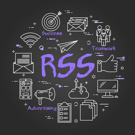 Vector linear round concept of successful advertising. Purple text rss in the center and outline icons of reward, like, teamwork on black chalkboard