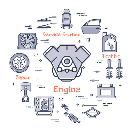 Vector linear round modern concept of auto part with outline engine icon in center on white background. Various components and parts of car vehicle at this web banner