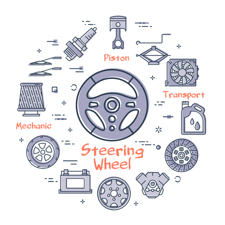 Vector linear round modern concept of auto part with outline steering wheel icon in center on white background. Various components and parts of car vehicle at this web banner