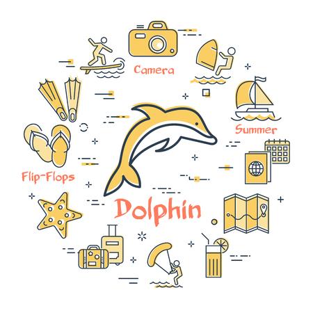 Concept de vacances d'été rond de vecteur avec l'icône de dauphin jaune au centre. Planification de voyage, divertissement en plein air, vacances à la plage et activités estivales - planche à voile, kite surf et plongée
