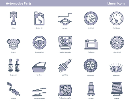 Vector set of linear modern icons composed on white background and showing different auto parts and components. Black outline and purple filled forms. Illustrations for a car service or auto repair