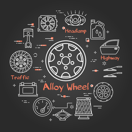 Vector linear round modern concept of auto part. White outline alloy wheel icon in center and black chalk board background. The different car parts and components are arranged in a circle of banner