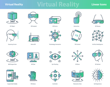 Vector set of linear virtual reality modern computer entertainment icons. Black outline stroke and green and blue gradient fill