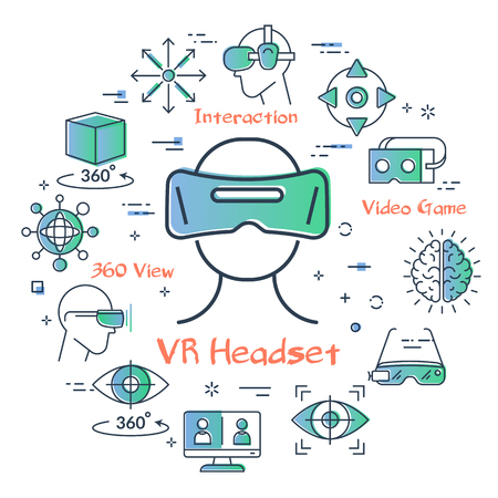 Vector concept of virtual reality diving. Linear icon of VR headset in center. Innovations technology in outline colored style. Mask for VR and other entertainment icons
