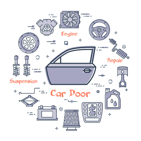 Vector linear round modern concept of auto part with outline car door icon in center on white background. Various components and parts of car vehicle at this web banner Illusztráció