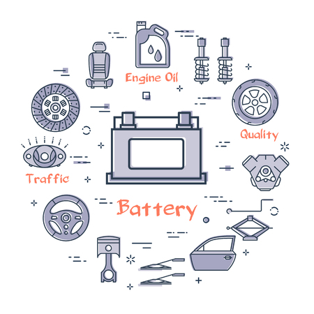 Vector linear round modern concept of auto part with outline car battery icon in center on white background. Various components and parts of car vehicle at this web banner Illusztráció