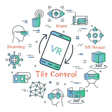 Vector concept of virtual reality activity. Linear icon of device tilt control in center. Innovations technology in outline colored style. Smart phone with letters VR and entertainment icons Illusztráció