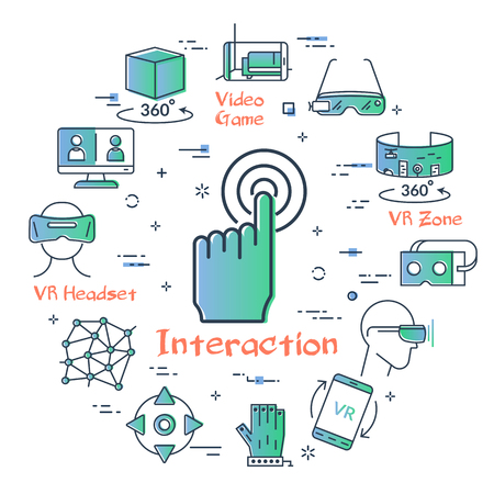 Vector concept of virtual reality diving. Linear icon of hand interaction in center. Innovations technology in outline colored style. Controller, vr helmet and glasses and other entertainment icons