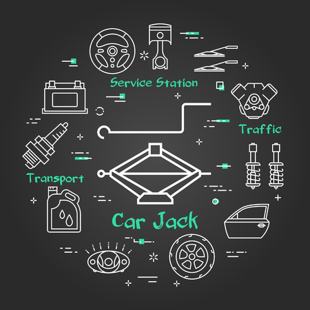 Vector linear round modern concept of auto part. White outline car jack icon in center and black chalk board background. The different car parts and components are arranged in a circle of banner