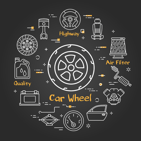 Vector linear round modern concept of auto part. White outline whole car wheel icon in center and black chalk board background. The different car parts and components are arranged in circle of banner