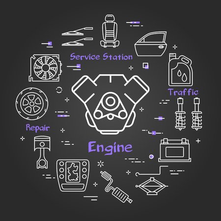 Vector linear round modern concept of auto part. White outline engine icon in center and black chalk board background. The different car parts and components are arranged in a circle of banner Illusztráció