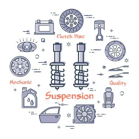 Vector linear round modern concept of auto part with outline suspension icon in center on white background. Various components and parts of car vehicle at this web banner