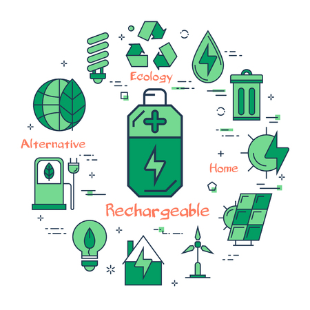 Vector linear illustration of rechargeable battery as alternative energy source. Several outline eco icons around. Web banner for ecology, innovations types of energy on white background