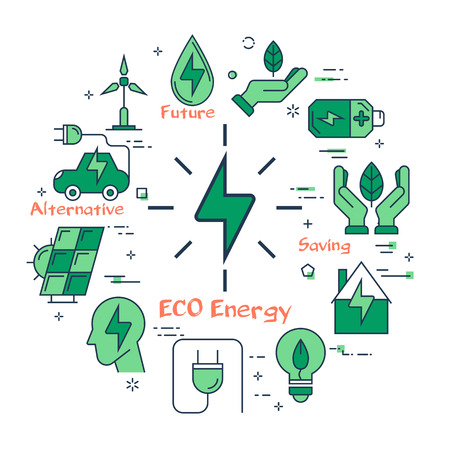 Vector linear illustration of eco energy sign as alternative energy source. Several outline eco icons around. Web banner for ecology, innovations types of energy on white background Illusztráció