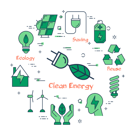 Banner of clean energy - electrical plug with leaf
