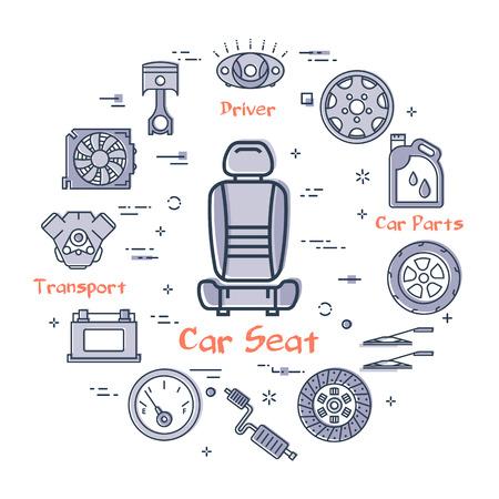 Vettore lineare rotondo moderno concetto di parte auto con contorno seggiolino auto icona al centro su sfondo bianco. Vari componenti e parti di autoveicoli in questo banner web