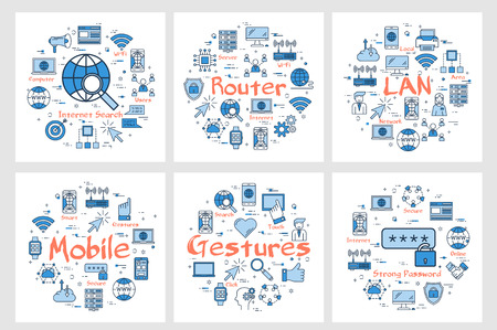 Vector six blue internet technology square banners - LAN, router, gesture and mobile. Outline icons arrangement on white background  イラスト・ベクター素材