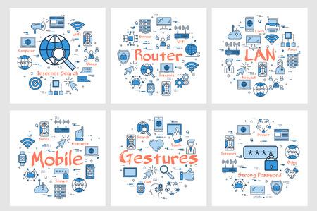 Vector six blue internet technology square banners - LAN, router, gesture and mobile. Outline icons arrangement on white background Illusztráció