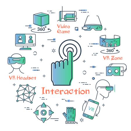 Vektorkonzept des Tauchens der virtuellen Realität. Lineares Symbol der Handinteraktion in der Mitte. Innovationstechnologie im umrissfarbenen Stil. Controller, VR-Helm und -Brille und andere Unterhaltungssymbole Vektorgrafik