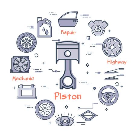 Concetto moderno rotondo lineare di vettore della parte auto con l'icona del pistone di contorno al centro su priorità bassa bianca. Vari componenti e parti di autoveicoli in questo banner web