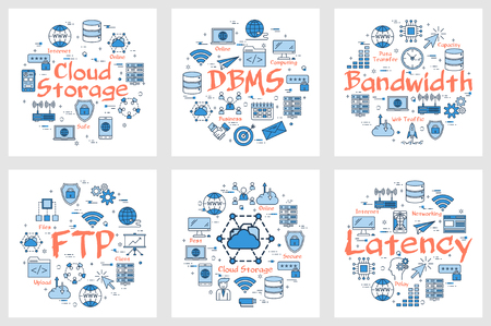 Vector six blue internet technology square banners. Concept of FTP, latency, bandwidth and cloud storage. Outline icons arrangement on white background