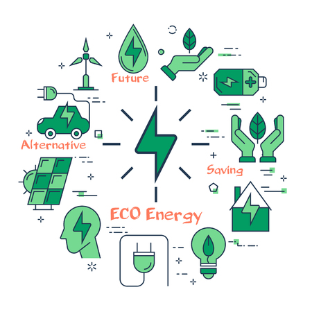 Vector linear illustration of eco energy sign as alternative energy source. Several outline eco icons around. Web banner for ecology, innovations types of energy on white background Ilustração