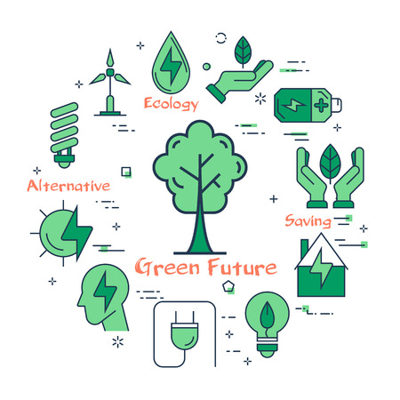 Vector linear illustration of green tree as concept of clean city or environment. Several outline eco icons around. Web banner for ecology, innovations types of energy on white background Ilustrace