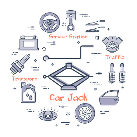 Vector linear round modern concept of auto part with outline car jack icon in center on white background. Various components and parts of car vehicle at this web banner