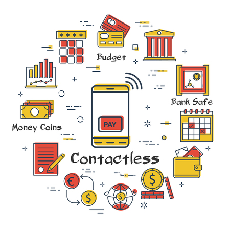 Vector linear concept of finance, banking and accounting. Color icon of contactless payment options with your smartphone. Money, budget and payment transactions icons