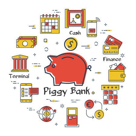 Vector linear concept of finance, banking and accounting. Color icon of piggy bank with dollar coin. Money, budget and payment transactions icons Banque d'images - 124899987