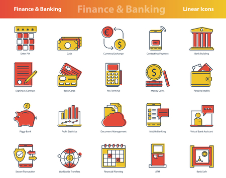 Vector set of twenty linear colored financial icons. Yellow and red colors. Suitable modern pictograms for accounting, banking, budget and financial operations or transactions Reklamní fotografie - 124899988