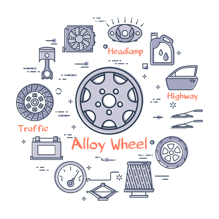 Vector linear round modern concept of auto part with outline alloy wheel icon in center on white background. Various components and parts of car vehicle at this web banner Ilustração