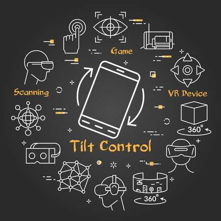 Vector linear concept of virtual reality technology. White outline smart phone with tilt control and black chalk board. The different VR devices and equipment icons as helmet, mask for internet diving 写真素材 - 124899991