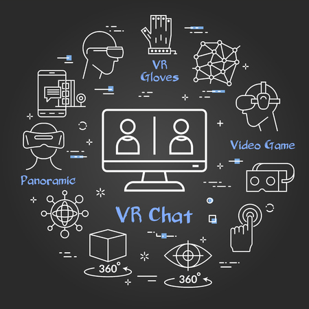 Vector linear concept of virtual reality technology. White outline chatting on computer icon and black chalk board background. The different VR devices and equipment icons as helmet and eye glasses