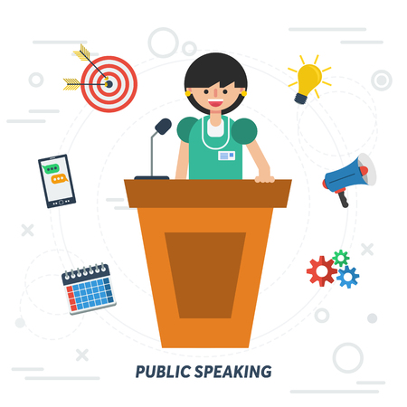 Vector concept public speaking woman. Lady orator speaking from tribune with web elements on background in flat style