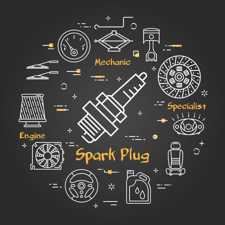 Vector linear round modern concept of auto part. White outline spark plug icon in center and black chalk board background. The different car parts and components are arranged in a circle of banner
