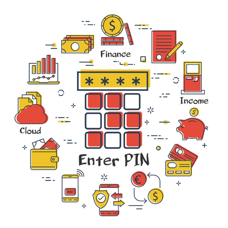 Vector linear concept of finance, banking and accounting. Color icon of enter pin code on panel or in browser. Safe and secure money mobile payment transactions