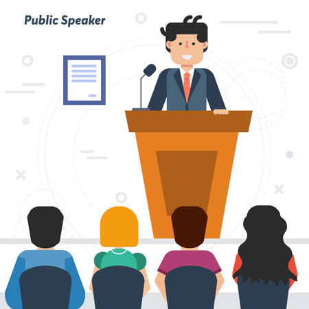 Vector concept of public speaking and business conference with audience. Happy man orator speaking from tribune and listeners in auditorium on chairs in flat style Ilustração