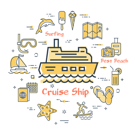 Vector round summertime vacation concept with yellow cruise ship icon in center. Trip planning, water entertainment, beach holiday and summer activity - windsurfing, kite surfing and diving Illustration